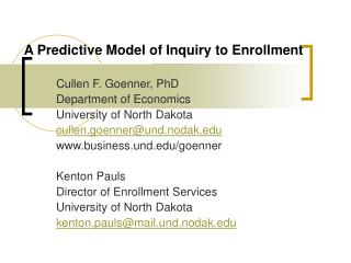 A Predictive Model of Inquiry to Enrollment