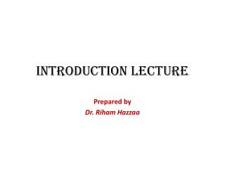 Introduction Lecture