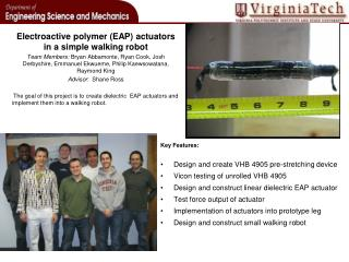 Electroactive  polymer (EAP) actuators in a simple walking robot