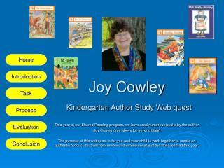 Joy Cowley  Kindergarten Author Study Web quest
