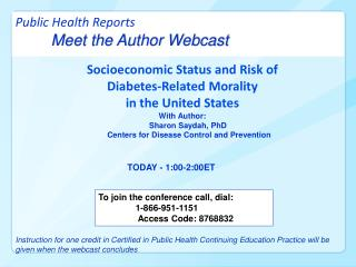 Public Health Reports  Meet the Author Webcast