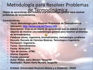 Metodología para Resolver Problemas de Termodinámica