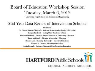 Mid-Year Data Review of Intervention Schools Presenters: