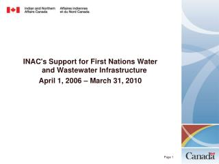 INAC's Support for First Nations Water and Wastewater Infrastructure