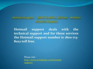 Hotmail Support | 1800-713-8022 Toll Free | Hotmail Technica