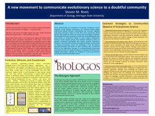 A new movement to communicate evolutionary science to a doubtful community Steven  M.  Roels