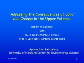 Assessing the Consequences of Land Use Change in the Upper Potomac