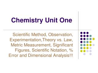 Chemistry Unit One