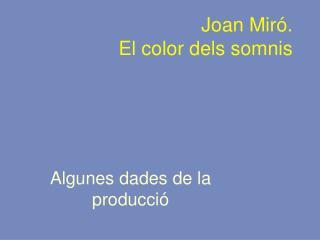 Joan Miró. El color dels somnis