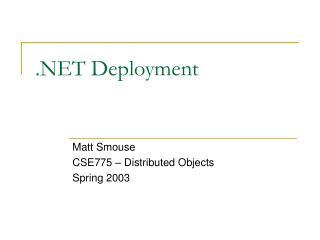 .NET Deployment
