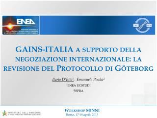 GAINS-ITALIA a supporto della negoziazione internazionale: la revisione del Protocollo di Göteborg