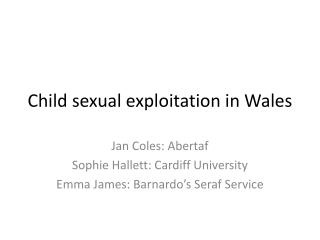 Child sexual exploitation in Wales