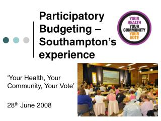 Participatory Budgeting –  Southampton's experience