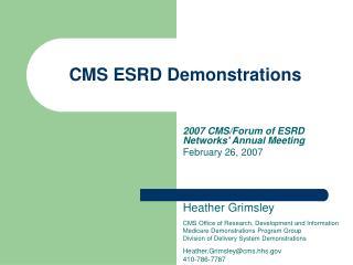 CMS ESRD Demonstrations