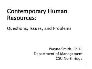 Contemporary Human Resources:
