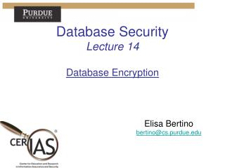 Database Security Lecture  14 Database Encryption