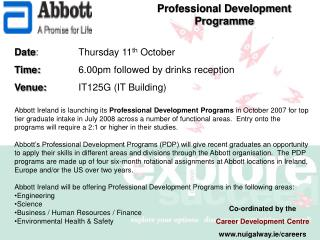 Date :  		Thursday 11 th  October Time: 		6.00pm followed by drinks reception