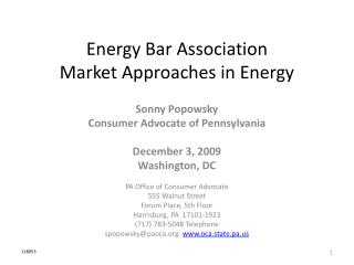 Energy Bar Association Market Approaches in Energy