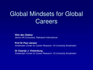 Global Mindsets for Global Careers