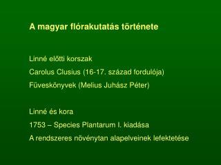 A magyar flórakutatás története