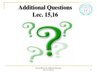 Additional Questions Lec. 15,16