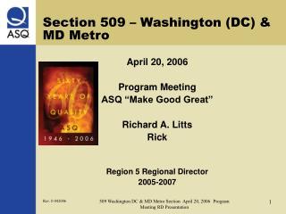Section 509 – Washington (DC) & MD Metro