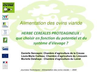 Journées Techniques «Alimentation des ovins viande» - 2009