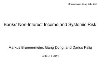 Banks' Non-Interest Income and Systemic Risk