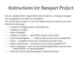 Instructions for Banquet Project