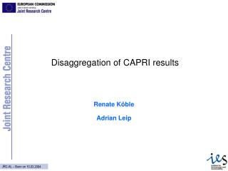 Disaggregation of CAPRI results
