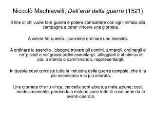 Niccol� Machiavelli,  Dell�arte della guerra  (1521)