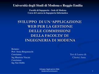 Università degli Studi di Modena e Reggio Emilia Facoltà di Ingegneria - Sede di Modena