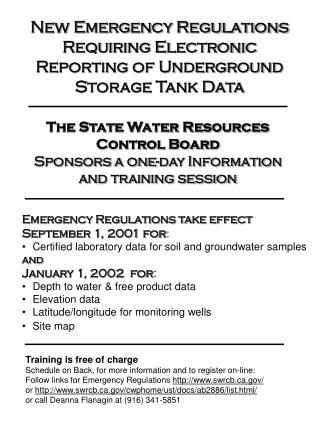 The State Water Resources Control Board Sponsors a one-day Information and training session