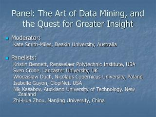 Panel: The Art of Data Mining, and the Quest for Greater Insight