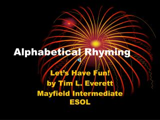 Alphabetical Rhyming