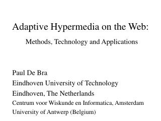 Adaptive Hypermedia on the Web: