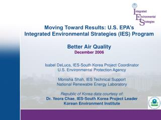 Isabel DeLuca, IES-South Korea Project Coordinator U.S. Environmental Protection Agency