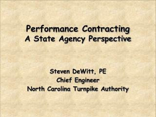 Performance Contracting A State Agency Perspective