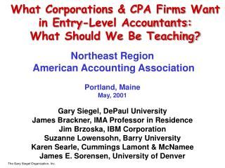 What Corporations & CPA Firms Want in Entry-Level Accountants: What Should We Be Teaching?