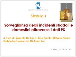 Modulo 1 Sorveglianza degli incidenti stradali e domestici attraverso i dati PS