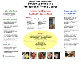 Deborah C. Andrews and Rebecca Worley Service Learning in a  Professional Writing Course