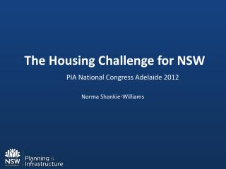 The Housing Challenge for NSW