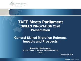 TAFE Meets Parliament SKILLS INNOVATION 2020 Presentation