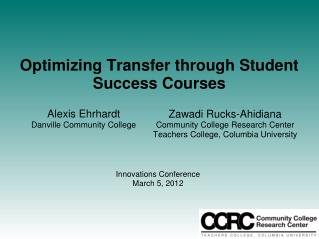 Optimizing Transfer through Student Success Courses