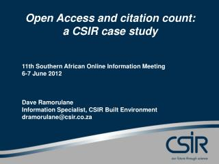 Open Access and citation count:  a CSIR case study