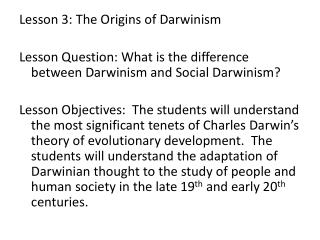Lesson 3:  The Origins of Darwinism