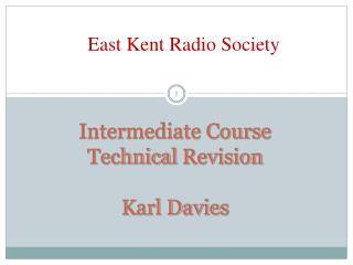 Intermediate Course Technical  Revision Karl Davies