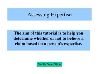 Assessing Expertise