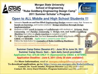 "Morgan State University  School of Engineering "" Rube Goldberg Engineering Design Camp """