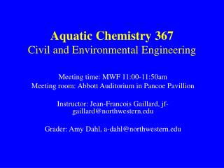 Aquatic Chemistry 367 Civil and Environmental Engineering